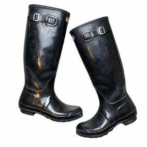 HUNTER Original Black Tall Gloss Rain Boots Size 8